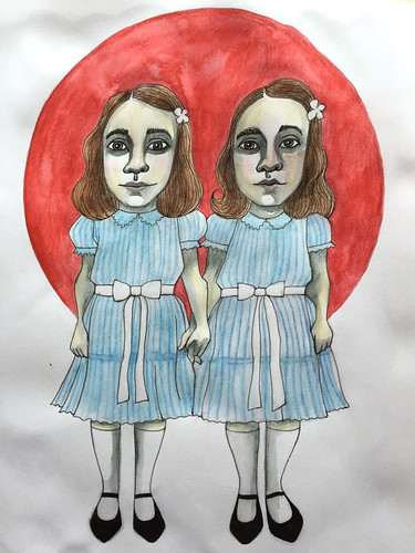 6 - The Grady Twins - The Shining - Art Journal Illustration