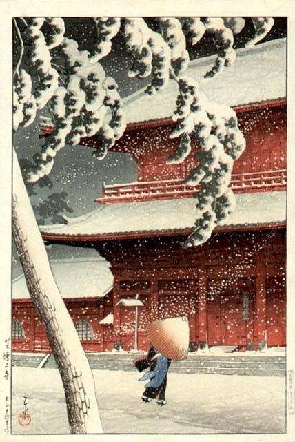 Snow at Zō¬jōji Temple, Shiba © 1925 Hasui Kawase