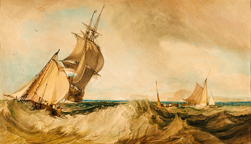 J・M・W・ターナー《セント・オールバンズ・ヘッド沖》1822年頃 油彩・紙、ハロゲイト、メ―サー・ア―ト・ギャラリー(C)Mercer Art Gallery, Harrogate Borough Council