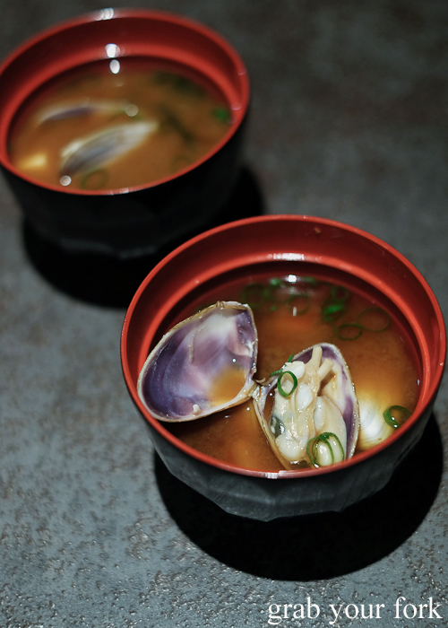 Miso clam soup, part of our omakase by Chef Ryuichi Yoshii at Fujisaki by Lotus at Barangaroo in Sydney