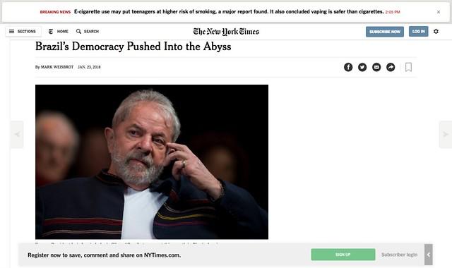 Para articulista do NYT, Lula condenado levará democracia ao