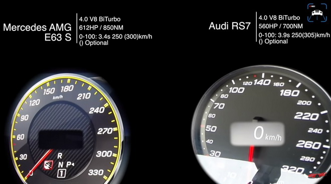 世界顶级性能轿车 Mercedes-AMG E63 S与Audi RS7比0-250km/h谁快???