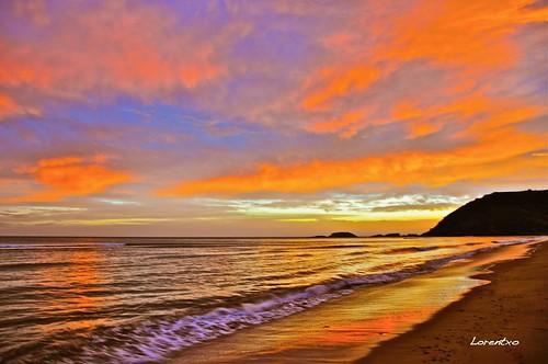 Amaneciendo en la playa de Zarautz