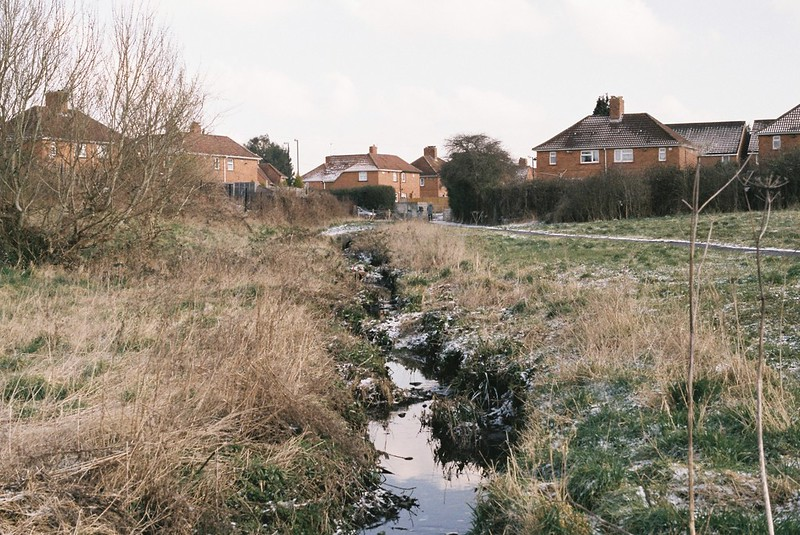 Looking back to the start of the River Trym, in Southmead
