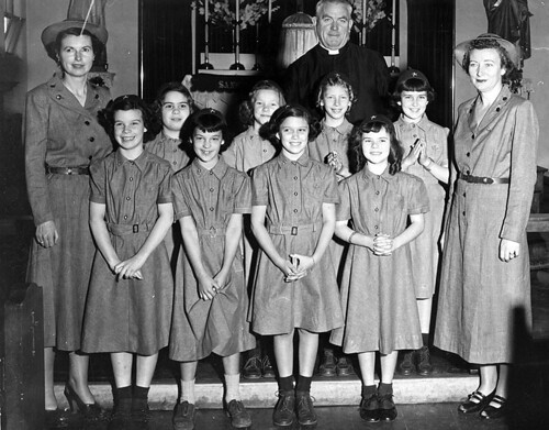 Girl Scouts of America and new members of the Brownie Troop at St. Francis De Sales Church in Sherman Oaks 1950
