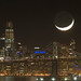 15% Crescent Moon & Salesforce Tower by george sing photography