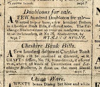 9-13-1813 Boston Advertiser Cheshire Bank ads