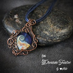 Twilight Ocean - Lampwork and Woven Copper Wire Necklace