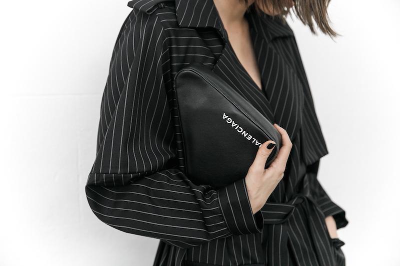 minimal street style fashion blogger striped trench coat vintage denim Balenciaga knife mules triangle clutch Instagram (4 of 11)
