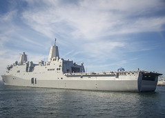 USS Anchorage (LPD 23) departs Naval Base San Diego, Jan. 17. (U.S. Navy/MC2 Jesse Monford)