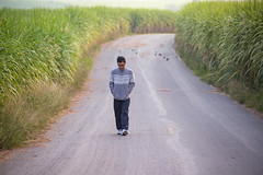 A man on the curving rural road.