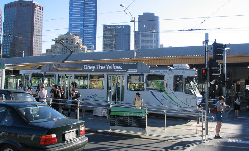 Tram at Federation Square, February 2008
