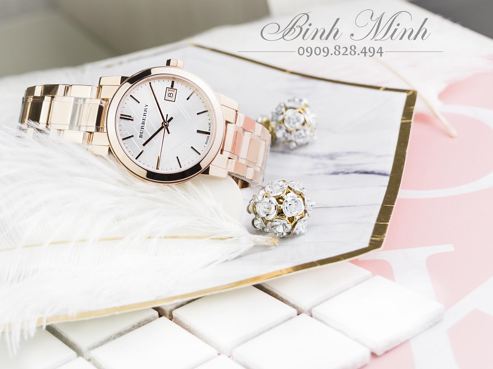 Đồng hồ Nữ Burberry The City BU9104 vàng hồng PVD, mới 100%, đủ hộp sổ.