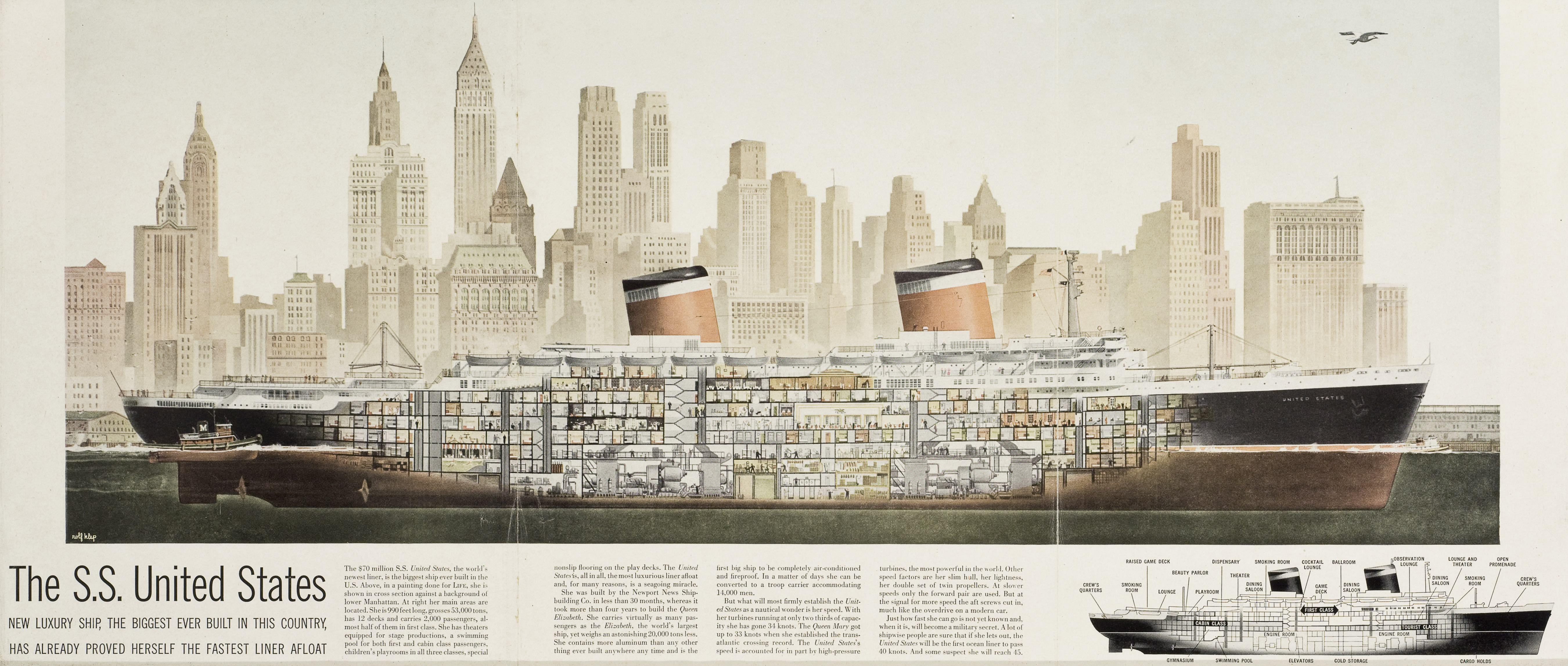 Cutaway view of SS United States