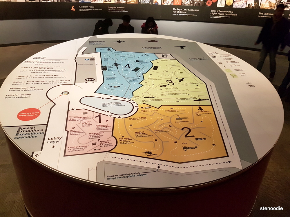 Canadian War Museum Galleries map