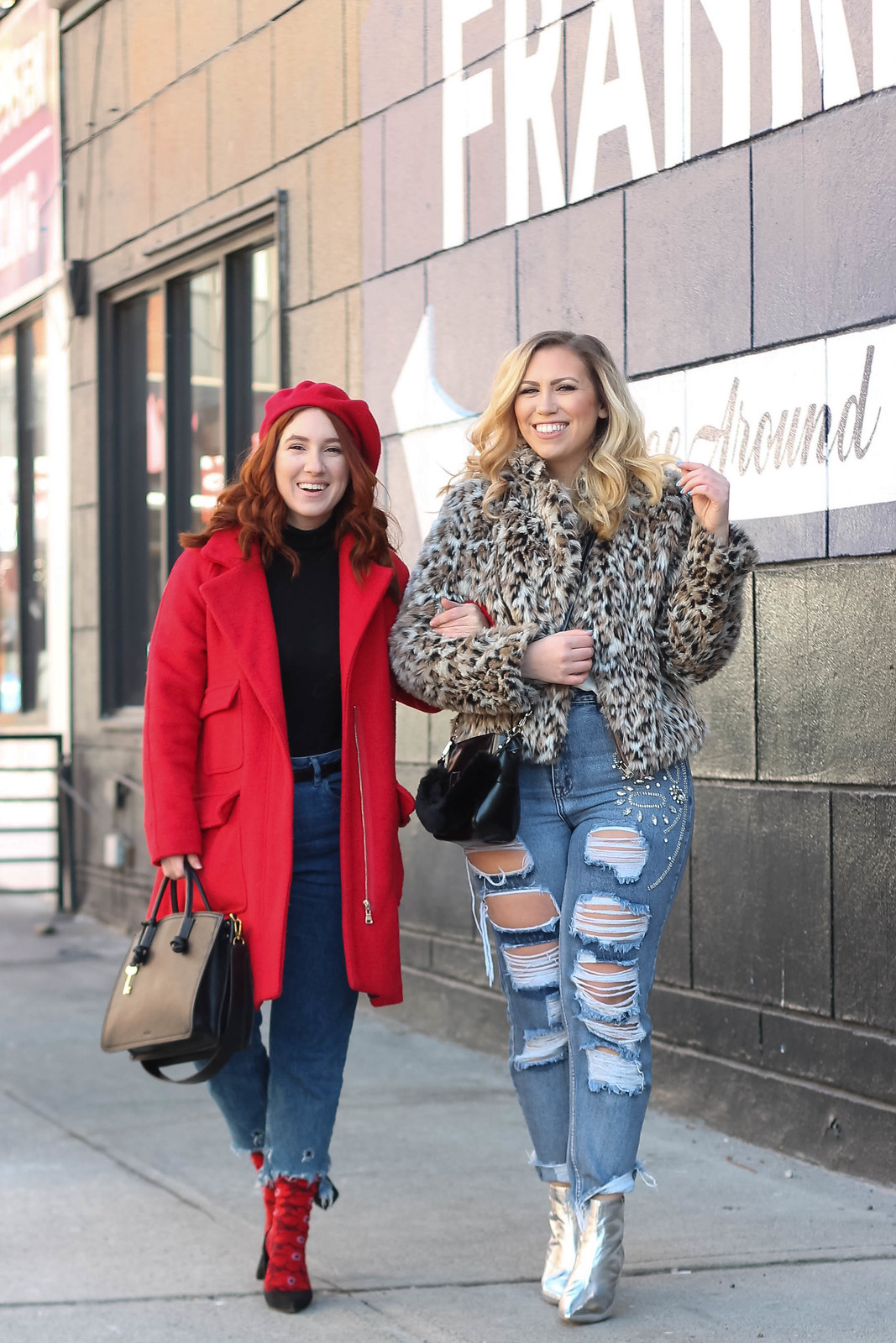Blonde Girl Walking in Leopard Coat Distressed Jeans and Silver Booties with Red Head Girl in Red Beret and Red Coat 2 Fun Ways to Dress Up Your Jeans This Winter