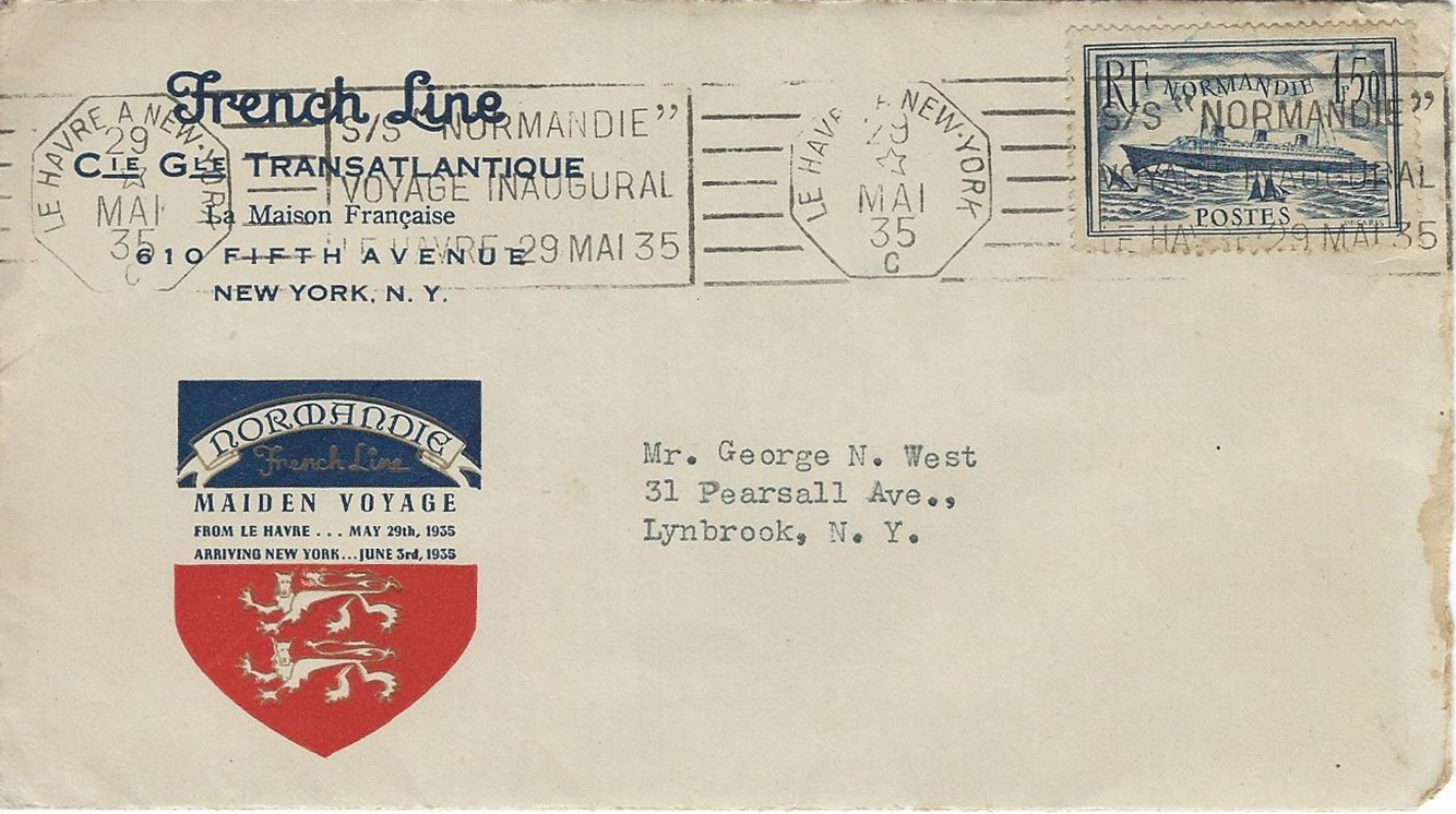 Cover carried aboard SS Normandie's maiden voyage with French Line cachet and bearing a copy of the stamp France released in April 1935 to mark the ship entering service (Scott #300).
