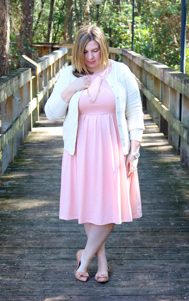 blush dress, cream cardigan, bow flats 2