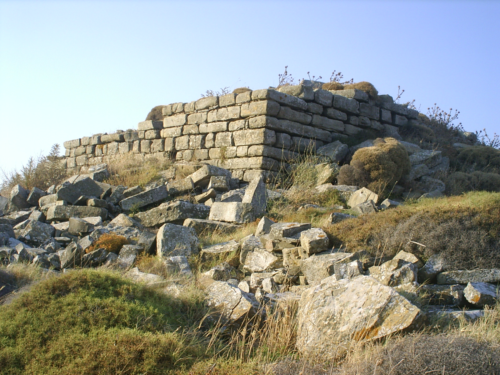 The tower of the medieval fortress in Skala village on Lemnos. Photo taken on May 14, 2007.
