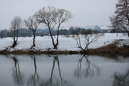 winter snow river sana tree water nature balkans bosnia sanski most