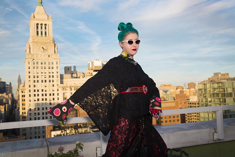 Lace kimono rooftop NYC 1