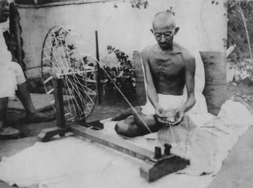 Gandhi spinning Charkha