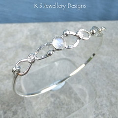 Rainbow Moonstone Twisted Wire Sterling Silver Bangle