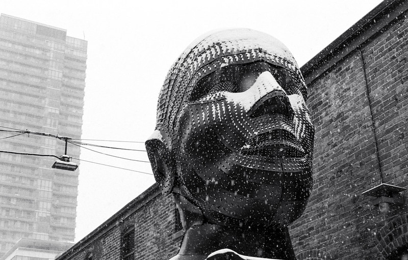 A Big Head in the Distillery District Close Up