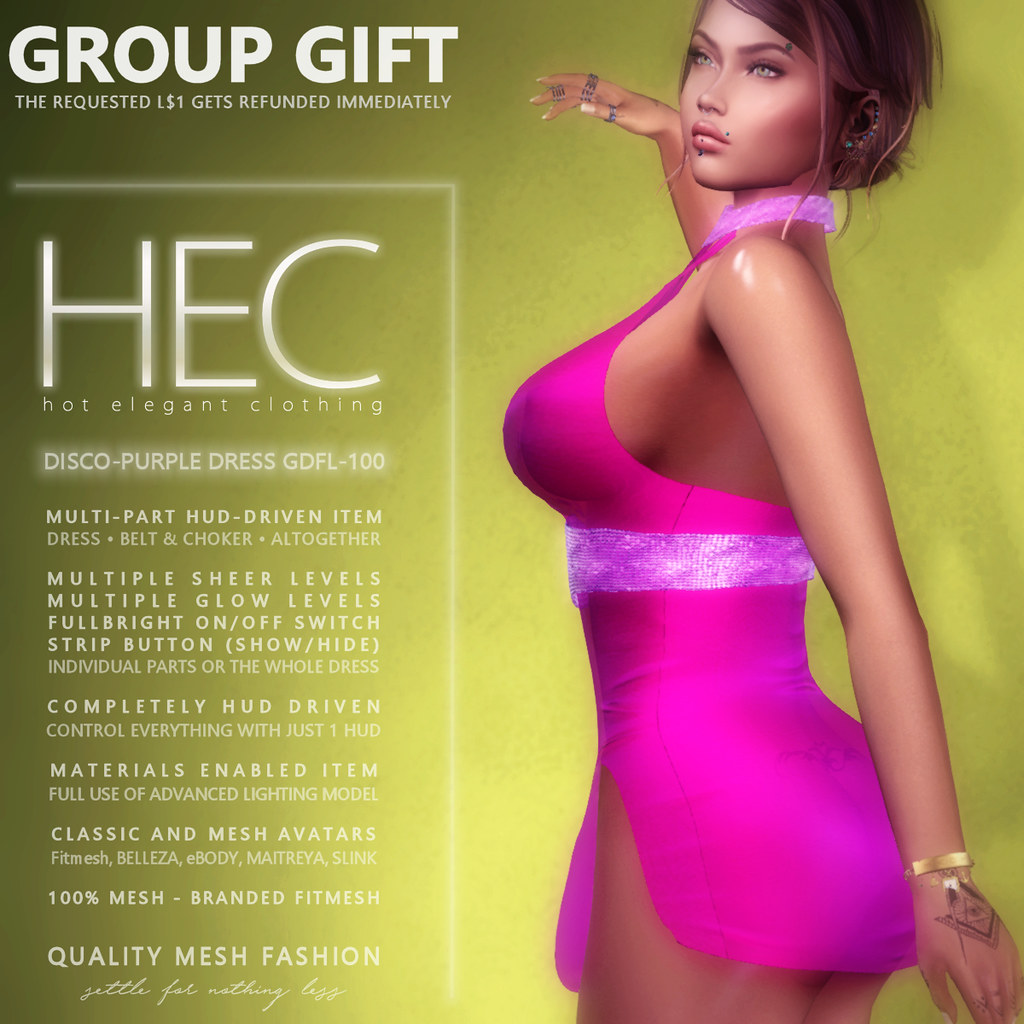 HEC (EVENT EXCLUSIVE GIFT) • DISCO-PURPLE MINI DRESS GDFL-100 - TeleportHub.com Live!