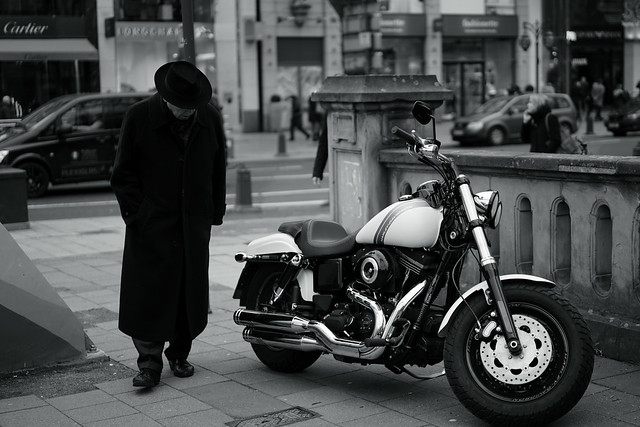 old man and Harley-Davidson