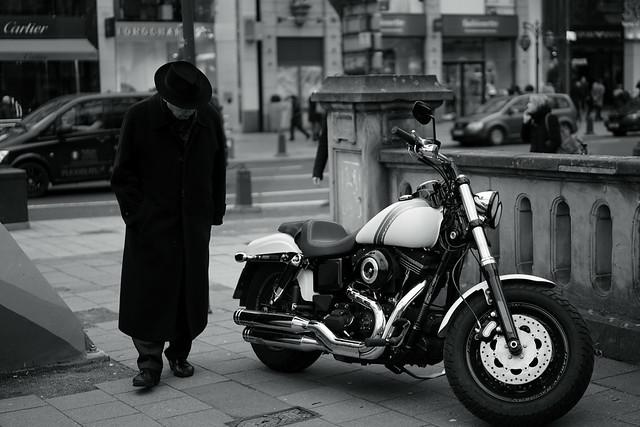 old man and Harley-Davidson