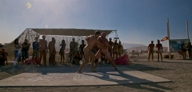 naturist wrestling camp Gymnasium 0070 Burning Man, Black Rock City, NV, USA