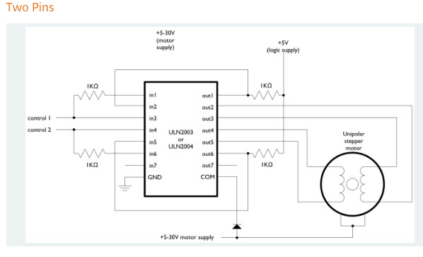 wire 28BYJ-48/ULN2003 for 2 pin use?