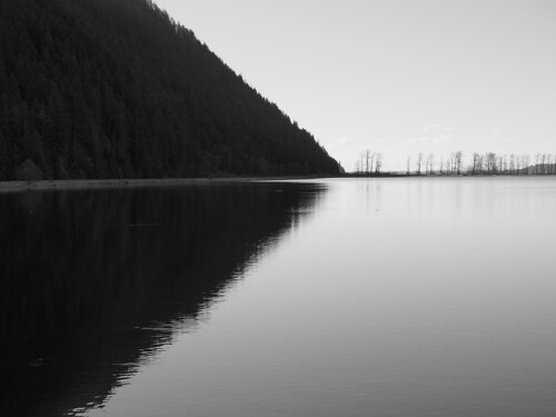 monotone black white landscape waterway pittlake