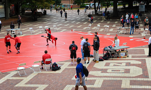 Wolfpack wrestlers put on a demo for students.