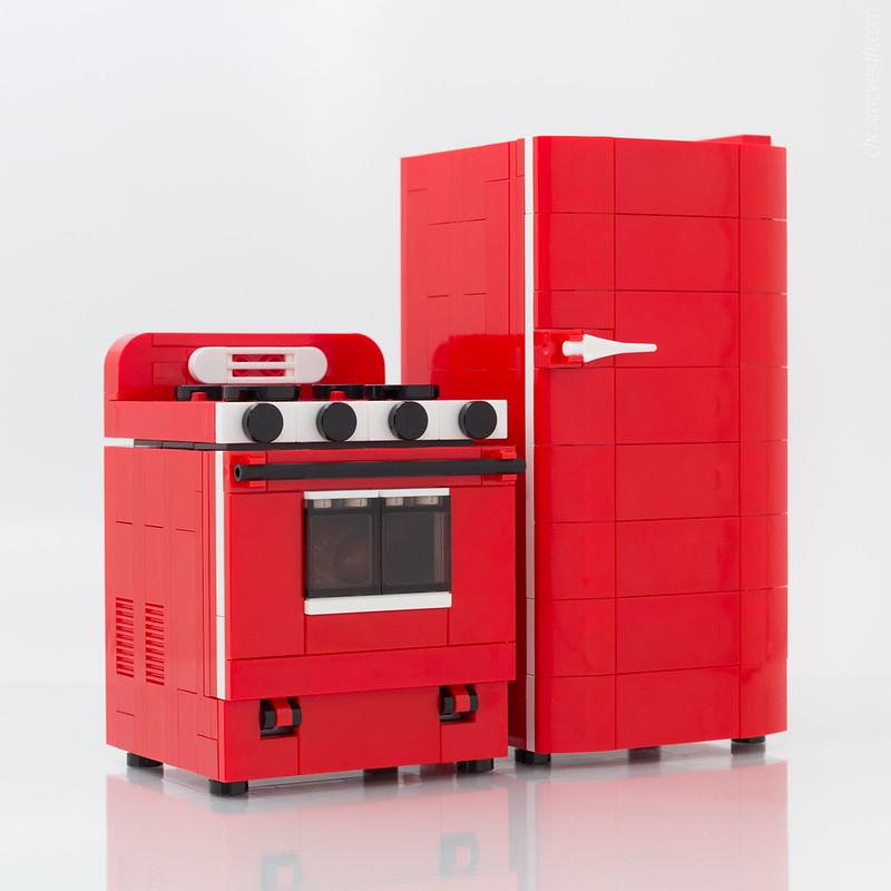 Cucina LEGO: Retro Range, Refrigerator
