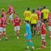 6 January 2018 Watford Players No 9 Troy Deeney Captain No 13 Malla Wague No 27 Christian Kabasele and Bristol City Player no 4 Aden Flint and Referee Craig Pawson in conversation and in foreground Bristol City Players