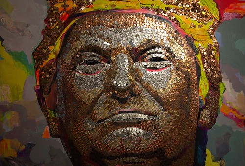 Trump Face of Money in coins portrait
