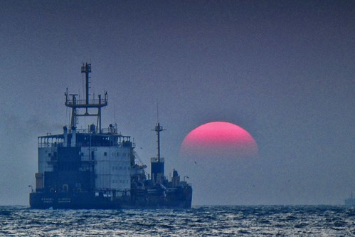 India - Vypin Island - Ship and sunset