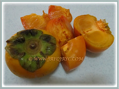 Sweet edible fruits of Diospyros kaki (Asian Persimmon, Japanese Persimmon, Oriental Persimmon, Buah Pisang Kaki in Malay), 27 Nov 2017