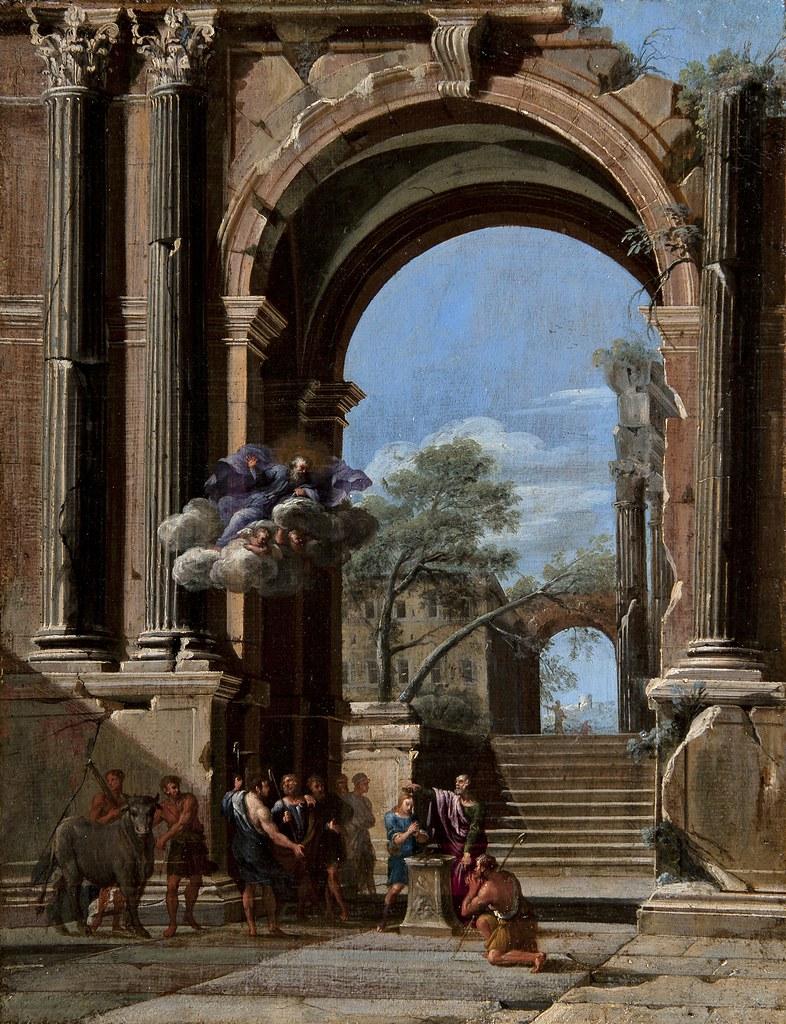 Niccolo Codazzi - Saint Peter Baptizing the centurion and the Arch of Titus