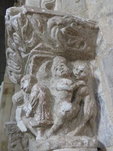 Réconciliation d'un couple, choeur de l'église romane, St Blaise (XIIe-XIIIe), Lacommande, Béarn, Pyrénées-Atlantiques, Nouvelle-Aquitaine, France.