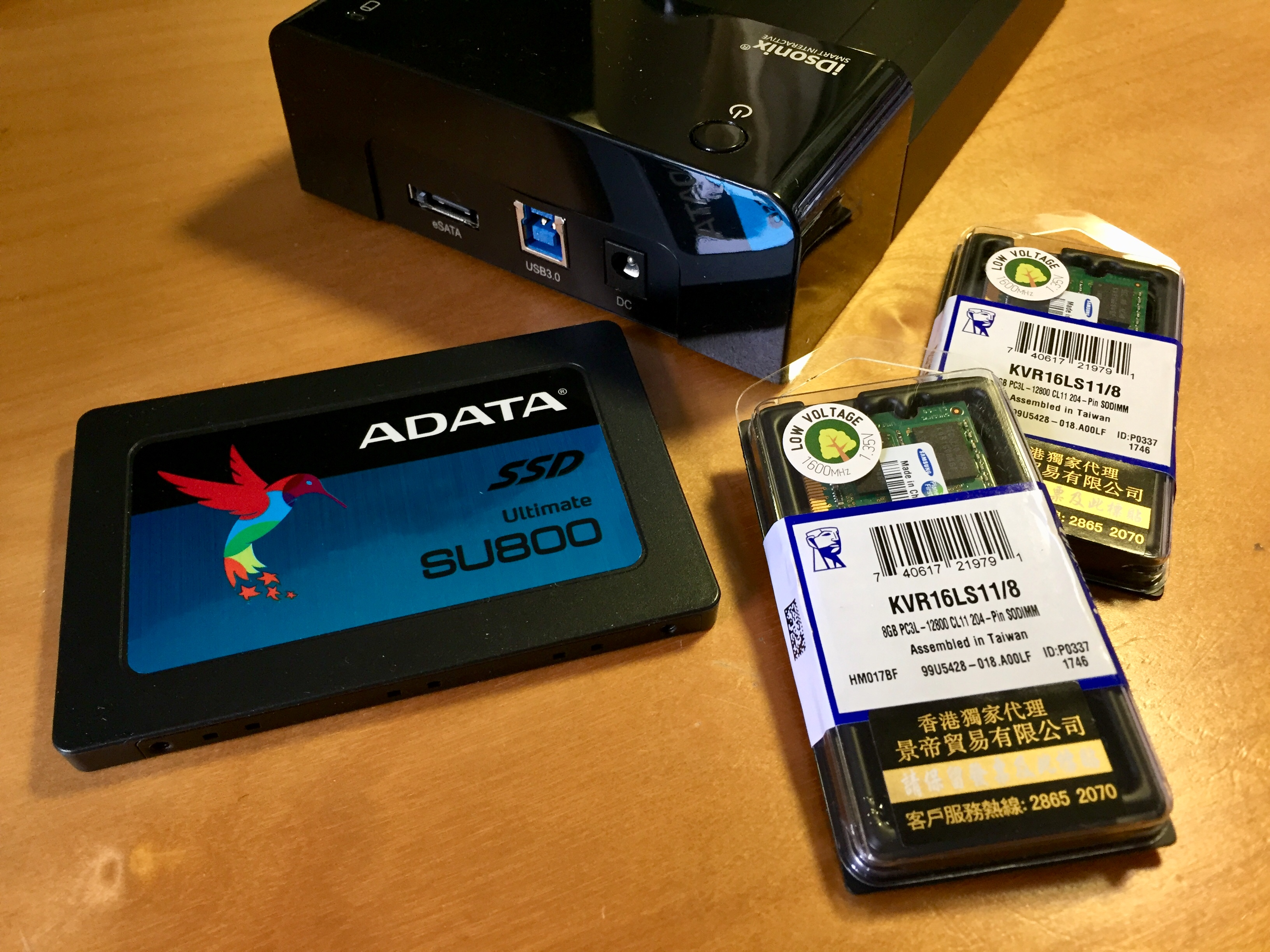 ADATA 512GB SSD; IDsonix 外置儲存盒 eSATA External disk enclosure;Kingston 8GB DDR3 SODIMM