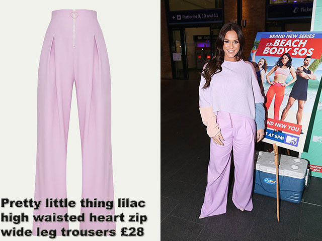 Pretty-little-thing-lilac-high-waisted-heart-zip-wide-leg-trousers, Vicky Pattison, High waist trousers, wide leg trousers, High waisted  pants, wide leg pants, high waisted heart zip wide leg trousers