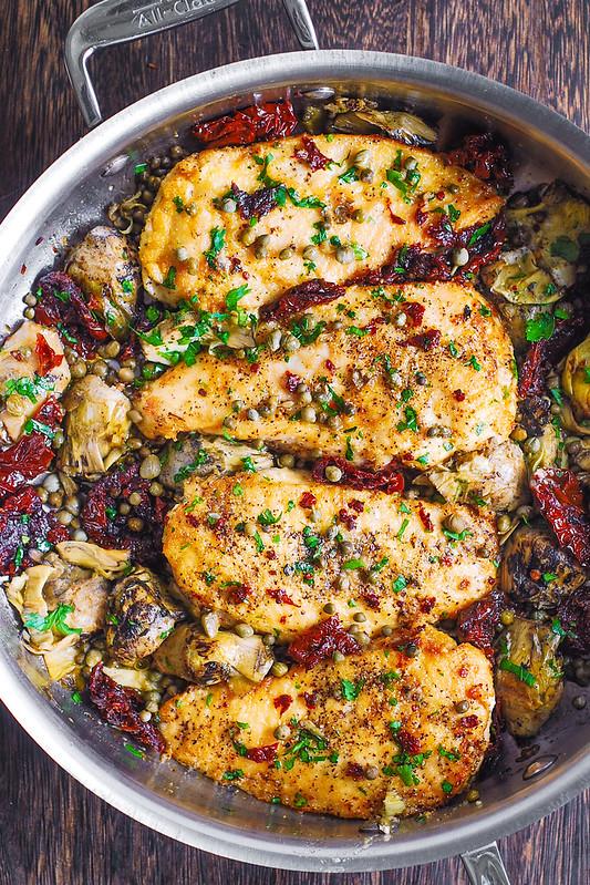 Mediterranean Chicken, olive oil, capers