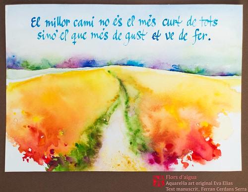 Itineraris; Màximes i mínimes, 2007. Flors d'aigua, aquarel·les de l'artista Eva Elias, amb texts propis manuscrits per l'autor, Ferran Cerdans Serra.