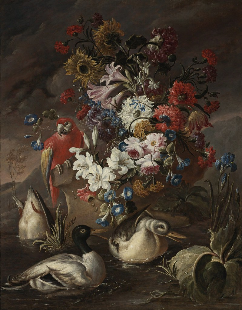 Andrea Belvedere - Floral still life with a parrot and ducks