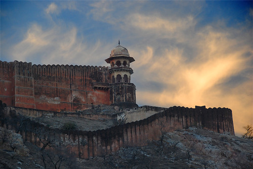 Sunset above the Amber Fort and Palace near Jaipur in India