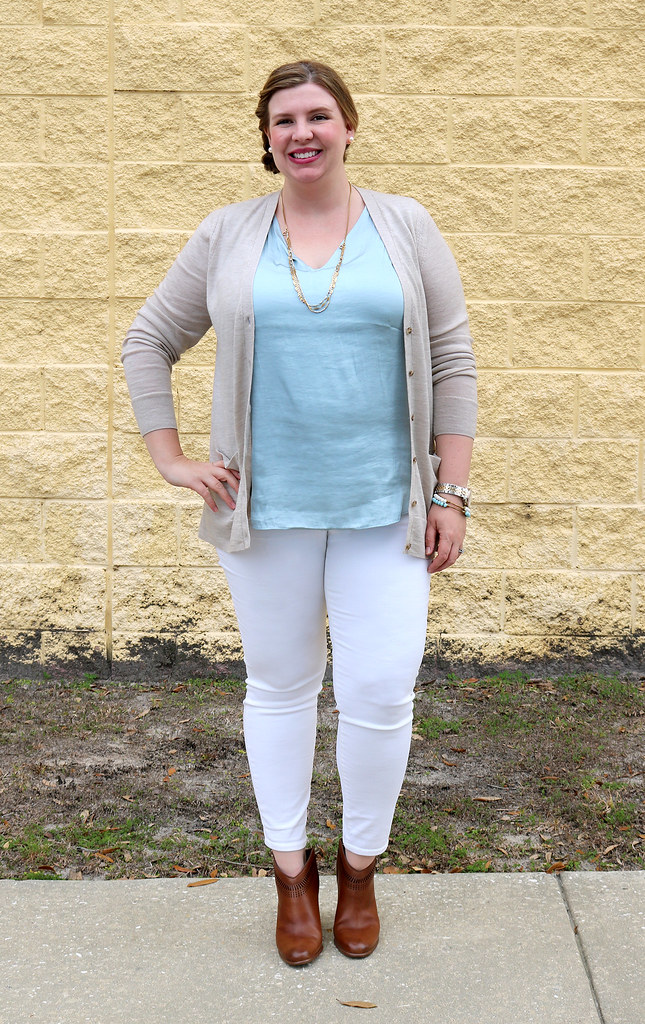 white jeans, tan cardi, aqua shell, cognac booties 3