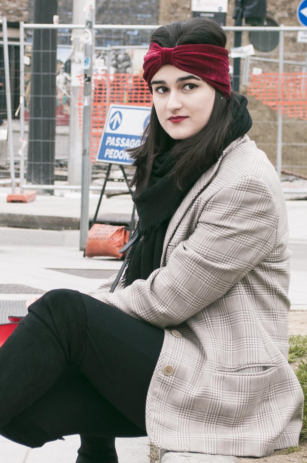 somethingfashion blogger firenze collaboration outfit casual turban diadem velvet red coat vintage italianbloggers_0694